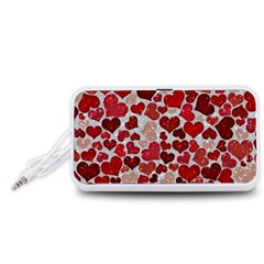 Sparkling Hearts, Red Portable Speaker (White)
