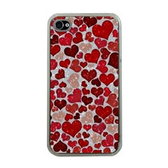 Sparkling Hearts, Red Apple iPhone 4 Case (Clear)