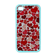 Sparkling Hearts, Red Apple iPhone 4 Case (Color)