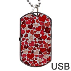 Sparkling Hearts, Red Dog Tag USB Flash (One Side)
