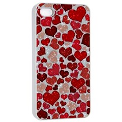 Sparkling Hearts, Red Apple iPhone 4/4s Seamless Case (White)