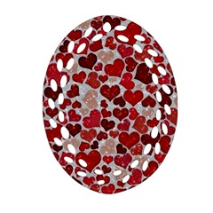 Sparkling Hearts, Red Oval Filigree Ornament (2-Side)