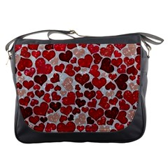 Sparkling Hearts, Red Messenger Bags