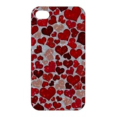 Sparkling Hearts, Red Apple iPhone 4/4S Premium Hardshell Case