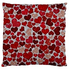 Sparkling Hearts, Red Large Cushion Cases (One Side)