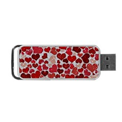 Sparkling Hearts, Red Portable USB Flash (One Side)