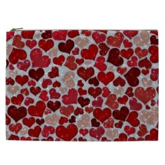 Sparkling Hearts, Red Cosmetic Bag (XXL)
