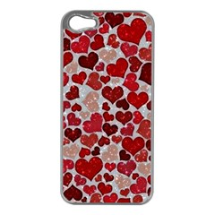 Sparkling Hearts, Red Apple iPhone 5 Case (Silver)