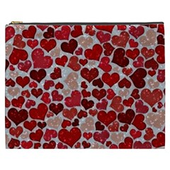 Sparkling Hearts, Red Cosmetic Bag (XXXL)
