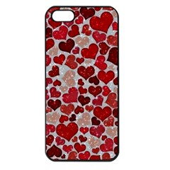 Sparkling Hearts, Red Apple iPhone 5 Seamless Case (Black)