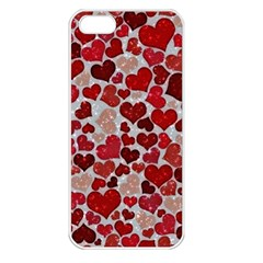 Sparkling Hearts, Red Apple iPhone 5 Seamless Case (White)