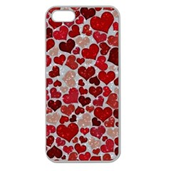 Sparkling Hearts, Red Apple Seamless iPhone 5 Case (Clear)