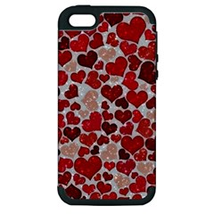 Sparkling Hearts, Red Apple iPhone 5 Hardshell Case (PC+Silicone)