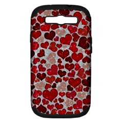 Sparkling Hearts, Red Samsung Galaxy S III Hardshell Case (PC+Silicone)