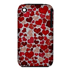 Sparkling Hearts, Red Apple iPhone 3G/3GS Hardshell Case (PC+Silicone)
