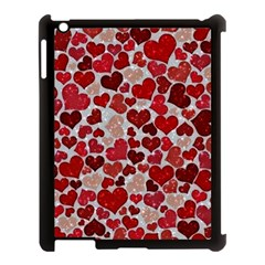 Sparkling Hearts, Red Apple iPad 3/4 Case (Black)