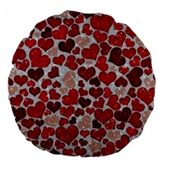 Sparkling Hearts, Red Large 18  Premium Round Cushions