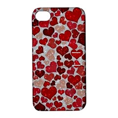 Sparkling Hearts, Red Apple iPhone 4/4S Hardshell Case with Stand