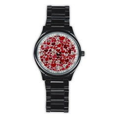 Sparkling Hearts, Red Stainless Steel Round Watches