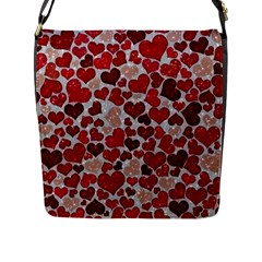 Sparkling Hearts, Red Flap Messenger Bag (L)