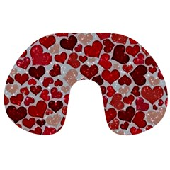 Sparkling Hearts, Red Travel Neck Pillows