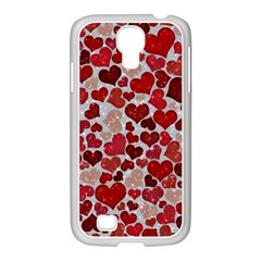 Sparkling Hearts, Red Samsung GALAXY S4 I9500/ I9505 Case (White)