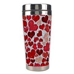 Sparkling Hearts, Red Stainless Steel Travel Tumblers