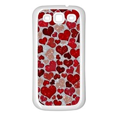 Sparkling Hearts, Red Samsung Galaxy S3 Back Case (White)