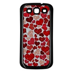 Sparkling Hearts, Red Samsung Galaxy S3 Back Case (Black)