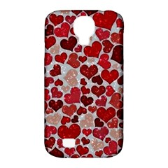Sparkling Hearts, Red Samsung Galaxy S4 Classic Hardshell Case (PC+Silicone)