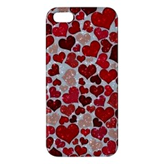 Sparkling Hearts, Red iPhone 5S Premium Hardshell Case