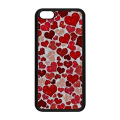 Sparkling Hearts, Red Apple iPhone 5C Seamless Case (Black)