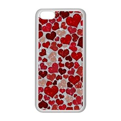 Sparkling Hearts, Red Apple iPhone 5C Seamless Case (White)
