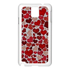 Sparkling Hearts, Red Samsung Galaxy Note 3 N9005 Case (White)