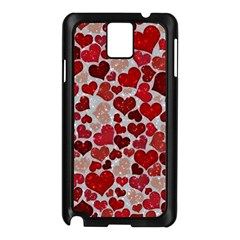 Sparkling Hearts, Red Samsung Galaxy Note 3 N9005 Case (Black)