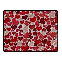 Sparkling Hearts, Red Double Sided Fleece Blanket (Small)