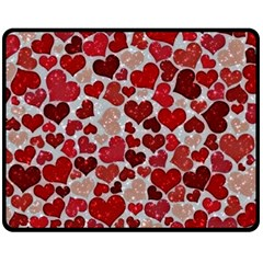 Sparkling Hearts, Red Double Sided Fleece Blanket (Medium)
