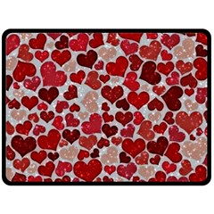 Sparkling Hearts, Red Double Sided Fleece Blanket (Large)