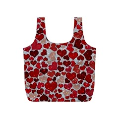 Sparkling Hearts, Red Full Print Recycle Bags (S)
