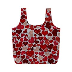 Sparkling Hearts, Red Full Print Recycle Bags (M)