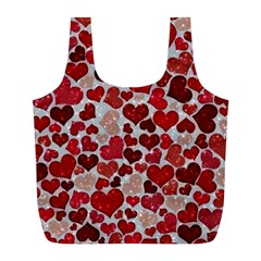 Sparkling Hearts, Red Full Print Recycle Bags (L)