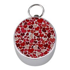 Sparkling Hearts, Red Mini Silver Compasses