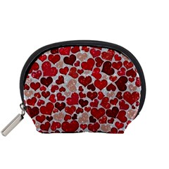 Sparkling Hearts, Red Accessory Pouches (Small)