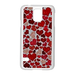 Sparkling Hearts, Red Samsung Galaxy S5 Case (White)