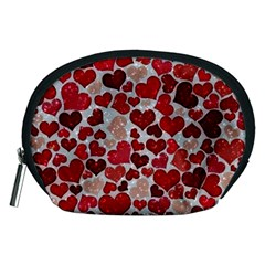 Sparkling Hearts, Red Accessory Pouches (Medium)