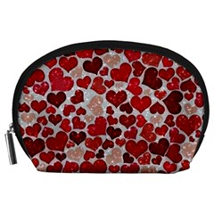 Sparkling Hearts, Red Accessory Pouches (Large)