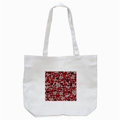Sparkling Hearts, Red Tote Bag (White)