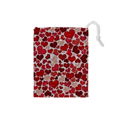 Sparkling Hearts, Red Drawstring Pouches (Small)