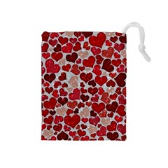 Sparkling Hearts, Red Drawstring Pouches (Medium)