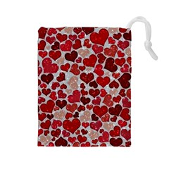 Sparkling Hearts, Red Drawstring Pouches (Large)